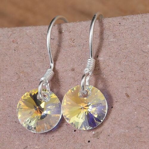 J Francis Crystal from Swarovski AB Crystal Hook Earrings in Sterling Silver
