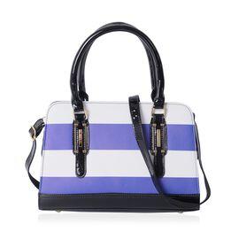 HONGKONG Close Out Blue and White Colour Stripe Pattern Tote Bag Size 31.5x22x12.5 Cm