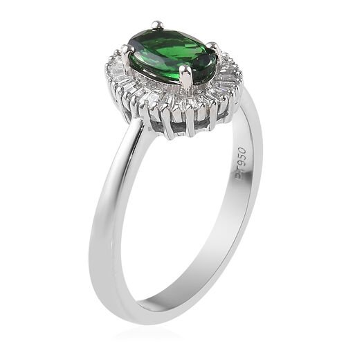 RHAPSODY 950 Platinum AAAA Tsavorite Garnet (Ovl 7x5 mm) and Diamond (VS/E-F) Ring 1.00 Ct.