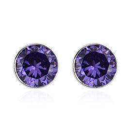 Super Auction - ELANZA  Simulated Tanzanite (Rnd 5mm) Stud Earrings (with Push Back) in Sterling Silver