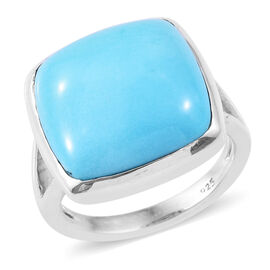 10.50 Ct  AAA Sleeping Beauty Turquoise Solitaire Ring in Platinum Plated Sterling Silver 4.9 Grams