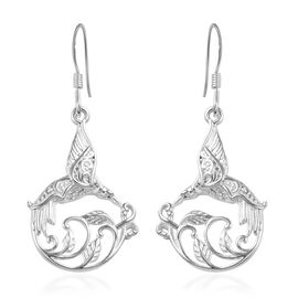 Bird and Vines Drop Earrings with Hook in Silver
