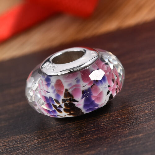 Charmes De Memoire Multi Murano Glass Bead Charm in Platinum Plated Sterling Silver