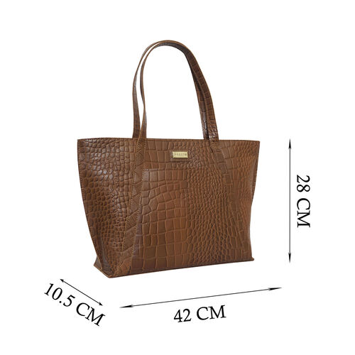 Monster Deal- Assots London AGNES Croc Embossed Genuine Leather Tote Bag with Zipper Closure (Size 33x11x26 Cm) - Tan