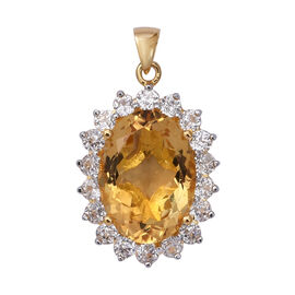 15 Carat Citrine and Natural Cambodian Zircon Halo Pendant in Gold Plated Sterling Silver