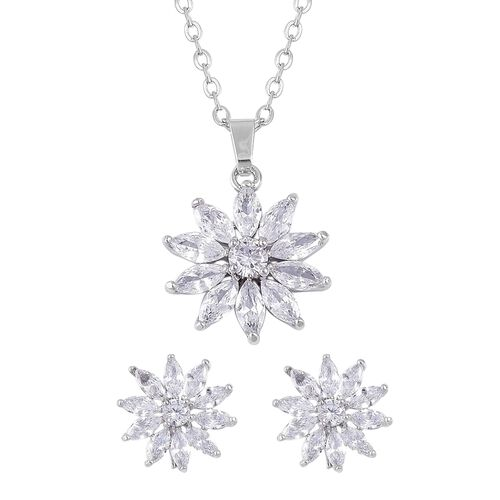 AAA Simulated White Diamond Floral Pendant With Chain (Size 22) and Earrings (with Clasp) in Silver Tone