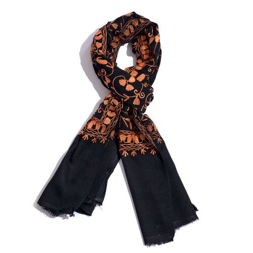 100% Merino Wool Peach Colour Embroidered Black Colour Scarf (Size 195x70 Cm)