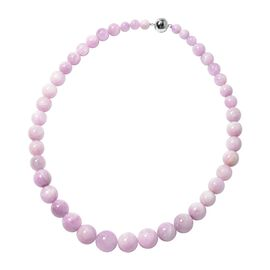 Kunzite (Rnd) Graduated Necklace (Size 20) in Rhodium Overlay Sterling Silver 597.00 Ct.