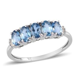 9K White Gold Santamaria Aquamarine and White Diamond Ring 1.03 Ct.