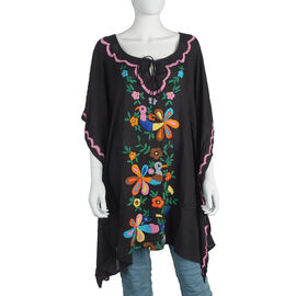 Designer Inspired- Black and Multicolour Foral Kaftan with Embroidery (Size 60x85 Cm)