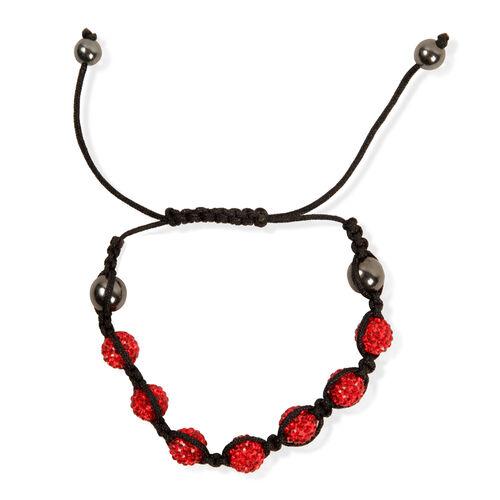 Red Austrian Crystal, Hematite Bracelet (Adjustable)