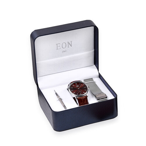 EON 1962 Japanese Movement 3ATM Water Resistant Watch with Interchangeable Dark Brown Genuine Leathe