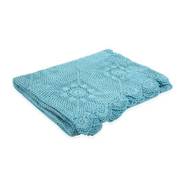 100% Cotton Handmade Crochet Lace Throw (Size 180x130 Cm) - Blue
