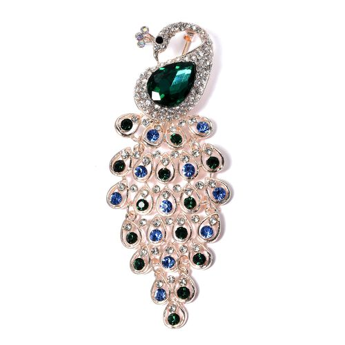 Designer inspired- Multi Colour Austrian Crystal and Simulated Emerald Peacock Brooch in Rose Gold P