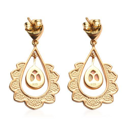 AA Ethiopian Welo Opal Enamelled Earrings (with Push Back) in 14K Gold Overlay Sterling Silver 1.35 Ct, Silver wt 5.00 Gms