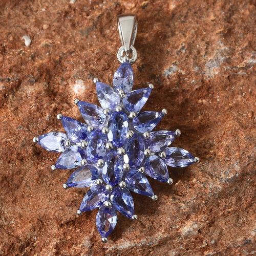 Tanzanite (Ovl) Cluster Pendant in Platinum Overlay Sterling Silver 4.000 Ct.