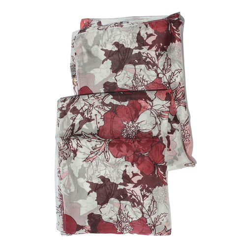 100% Mulberry Silk Burgundy, White and Multi Colour Handscreen Floral Printed Scarf (Size 200X88 Cm)