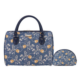 SIGNARE - Tapestry Ladys Travel Bag with Matching Cosmetic Bag in Austen Blue Design by CFA Voysey (