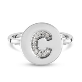 White Diamond Initial-C Ring in Platinum Overlay Sterling Silver