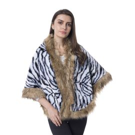 Super Soft Zebra Print Faux Fur Wrap (Size 156x58 Cm)