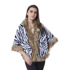 Super Soft Zebra Print Faux Fur Wrap (Size 156x58 Cm)