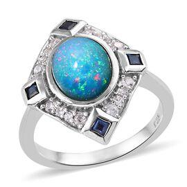 Blue Ethiopian Opal (Ovl), Natural Cambodian Zircon and Kanchanaburi Blue Sapphire Ring in Platinum