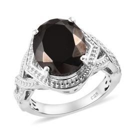 Elite Shungite (Ovl 12x10 mm) Ring in Platinum Overlay Sterling Silver 2.750 Ct.