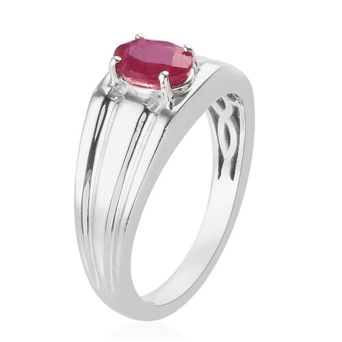 AA African Ruby Solitaire Ring in Platinum Overlay Sterling Silver 1.25 Ct.