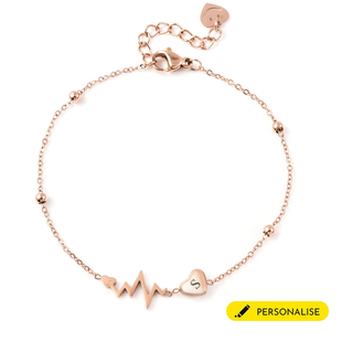 Personalised Engravable Initial Heart Beat Steel Bracelet Size, 7+1 Inch, Stainless Steel