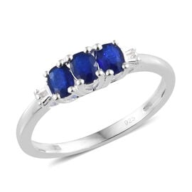 One Time Deal-Blue Spinel (Ovl), Diamond Ring in Sterling Silver
