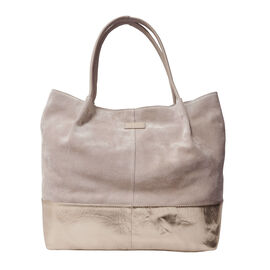 Assots London Donna Genuine Suede Leather Slouchy Metallic Shopper Bag Size 38x38x13cm - Pink and Rose Gold
