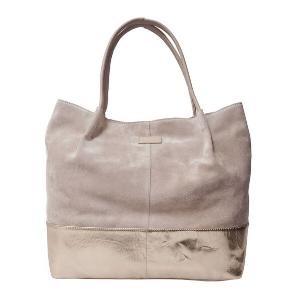 ASSOTS LONDON Donna Genuine Suede Leather Slouchy Metallic Shopper (Size 38x38x13cm) - Pink & Rose G