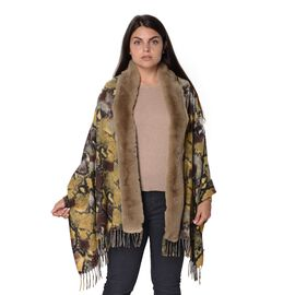 Snake Pattern Faux Fur Winter Shawl (Size 70x180 Cm) - Black and Brown and Green
