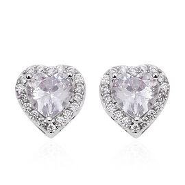 Simulated Diamond Heart Halo Earrings in Rhodium Plated Sterling Silver With Push Back