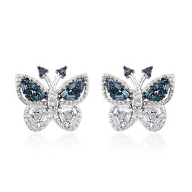 Blue and White Diamond (Rnd) Butterfly Earrings (with Push Back) in Platinum Overlay Sterling Silver