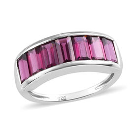 Purple Garnet Half Eternity Band Ring in Platinum Overlay Sterling Silver 3.00 Ct.