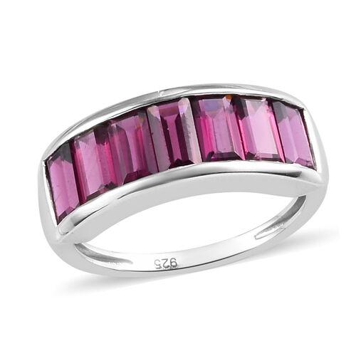 Purple Garnet Half Eternity Band Ring in Platinum Overlay Sterling Silver 3.00 Ct.