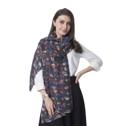 New Season-Dark Grey and Multi Colour Shawl with Rainbow Colour Feather Reversible Pattern (Size 180x65 Cm)