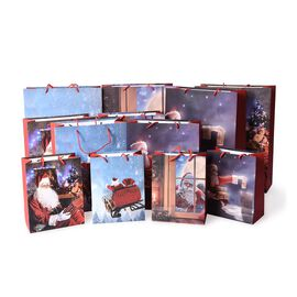 Set of 12 - Christmas Theme Gift Paper Bag in 3 Different Sizes with Name Tags for Each - Blue and M