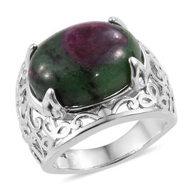 13.25 Ct Ruby Zoisite Solitaire Ring in Platinum Plated Sterling Silver 6.49 Grams
