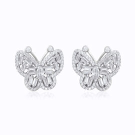 ELANZA Simulated Diamond (Bgt) Butterfly Earrings (with Push Back) in Rhodium Overlay Sterling Silve