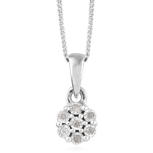 Diamond Platinum Overlay Sterling Silver 3 Pcs Ring, Earring and Pendant With Chain Set  0.150  Ct.