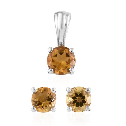 Citrine (1.75 Ct) Solitaire Earrings with Push Back and Pendant in Platinum Overlay Sterling Silver 1.750  Ct.
