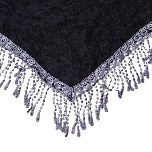 Designer Inspired- Black Triangle Scarf with Tassels (Size 130x52 Cm)