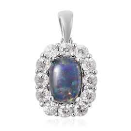 One Time Deal - Australian Boulder Opal and Natural Cambodian Zircon Pendant in Rhodium Overlay Ster