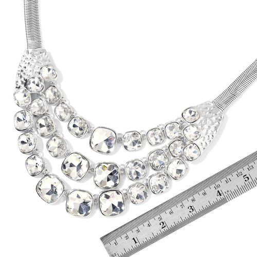 Simulated White Diamond BIB Necklace (Size 22 with 2 inch Extender) in Silver Tone