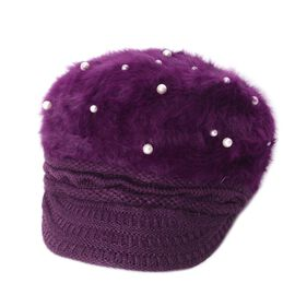 Faux Fur Simulated Pearl Woven Design Hat (Size 50 Cm) - Purple