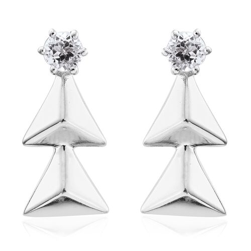 Natural Cambodian Zircon (Rnd) 0.75 Carat Xmas Tree Silver Earrings in Platinum Overlay (with Push Back)