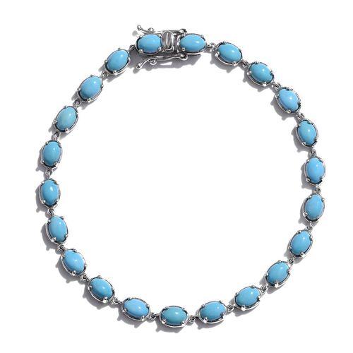 Arizona Sleeping Beauty Turquoise (Ovl) Bracelet (Size 8) in Platinum Overlay Sterling Silver 9.250 Ct.