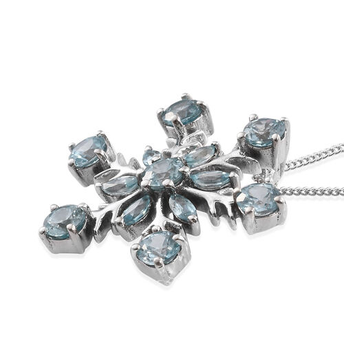 Blue Zircon (Rnd) Snowflake Pendant With Chain in Platinum Overlay Sterling Silver 3.500 Ct.